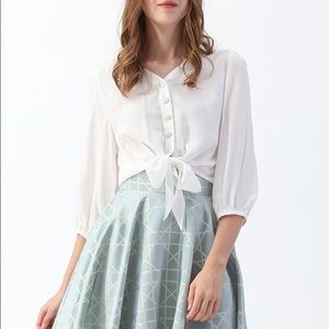 CHICWISH Tie Front White Top